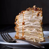Apple Buckwheat Crepe Cake with Cider Caramel Sauce