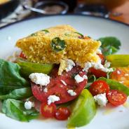 Tomato Salad and Honey Jalapeño Corn Bread