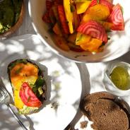 Beet Salad, Avocado spread & Pumpernickel crostini
