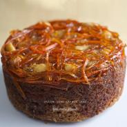 Upside down Carrot+Coconut+Ginger Cake