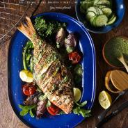 Grilled whole Red Snapper + Mint Lime Serrano Pesto