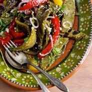Grilled Nopalitos and Red Bell Pepper Salad