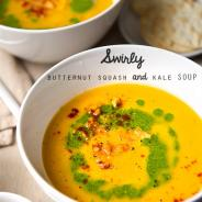 Swirly butternut squash and kale soup