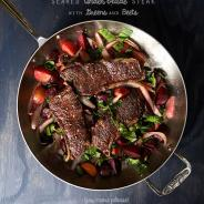 Seared Under Blade Steak Greens and Beets