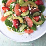 Spinach Ambrosia Salad with Dijon-honey-grapefruit vinaigrette