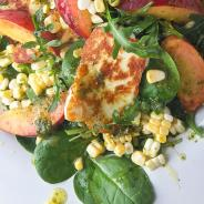 Peach Sweet Corn and Halloumi Salad with Lemon Basil Vinaigrette