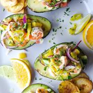 Peperoncini Shrimp Ceviche Stuffed Avocados