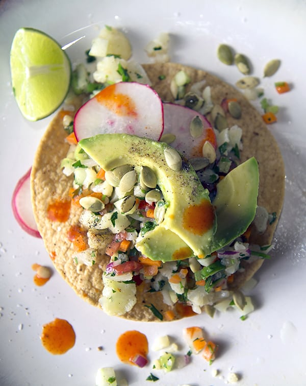 Cauliflower Ceviche_Tostada ready to eat!