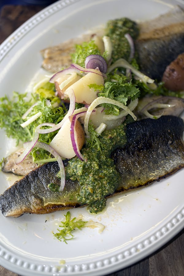 Seared Rainbow Trout : Citrus-fennel-potato salad & Cilantro pesto_Yes,more please!