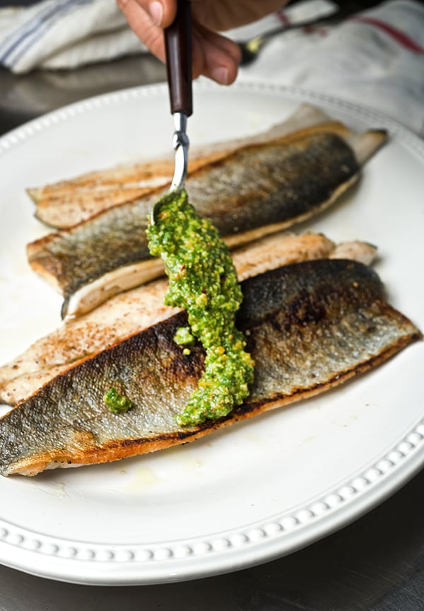 Seared-Rainbow-Trout-with-Cilantro-pesto-ready-to-serve_Yes,more-please!