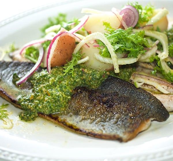 Seared-Rainbow-Trout-with-Citrus-fennel-potato-salad-&-Cilantro-pesto_Yes,more-please!