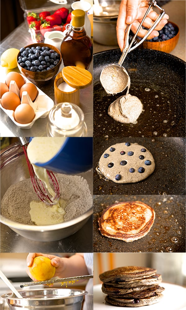 Blue Berry Orange Buckwheat Pancakes _step by step ~ Yes, more please!