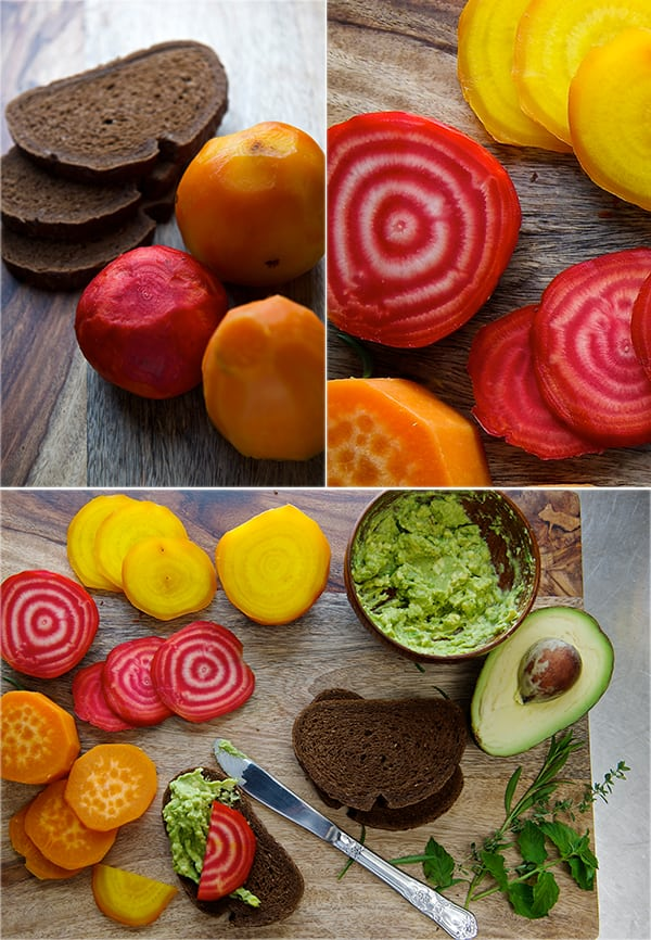 Beet-Salad_avocado-spread_pumpernickel-crostini_-Golden-and-Chioggia-Red-beets.