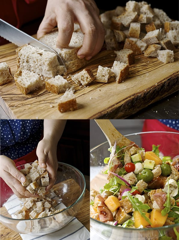 Panzanella Melon Salad _dicing bread-~ Yes, more please!
