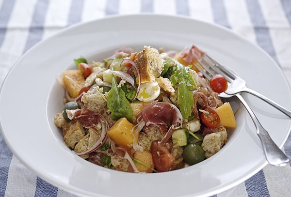 Panzanella Melon Salad ~ served, Yes, more please!