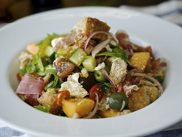 Panzanella Melon Salad-mouth watering flavors and textures!