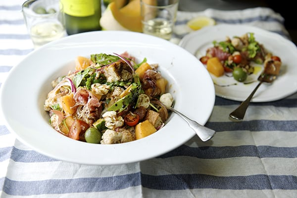 Panzanella Melon Salad have some wine! ~ Yes, more please!