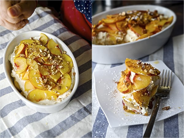 Peach & Cinnamon Trifle_almonds t, the final touch~ Yes, more please!