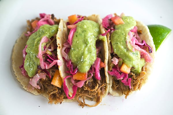 Pulled-Pork-Tacos-&-Hatch-banero-Mango-Slaw-~Yes,-more-please!