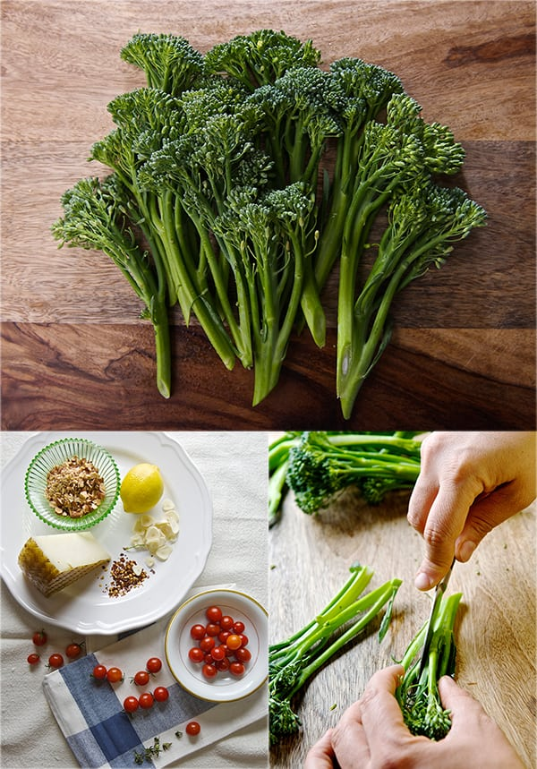 Sauteed Broccolini & Lemon Quinoa_cutting steems