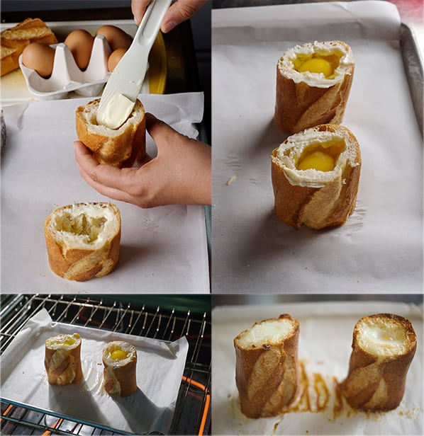 """Bagueggs_02Baked eggs in Baguette + Smoked Gouda Sauce - a.k.a """"Bageggs"""" ~ Yes, more please!"""