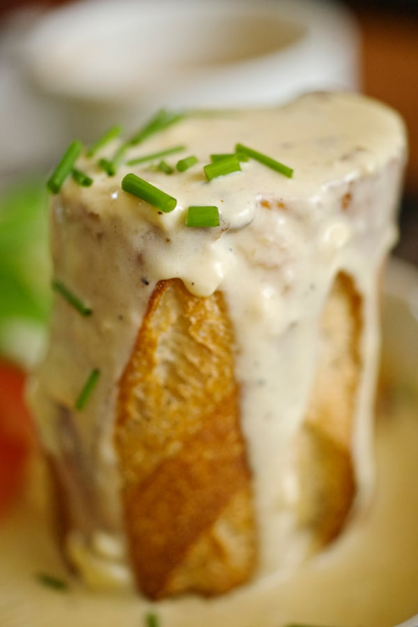 "Baked eggs in Baguette + Smoked Gouda Sauce - a.k.a ""Bageggs"" ~ Yes, more please!"
