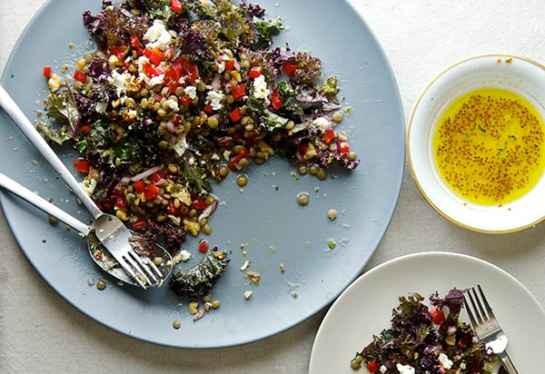 Kale and Lentil Salad with Honey- Mustard Vinaigrette_healthy and delicious