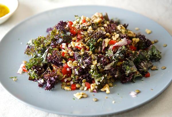 Kale and Lentil Salad with Honey- Mustard Vinaigrette_vegetarian_healthy dinner