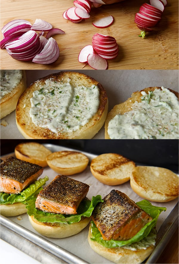 Salmon Sliders with yogurt-cucumber-dill sauce_building your salmon slider