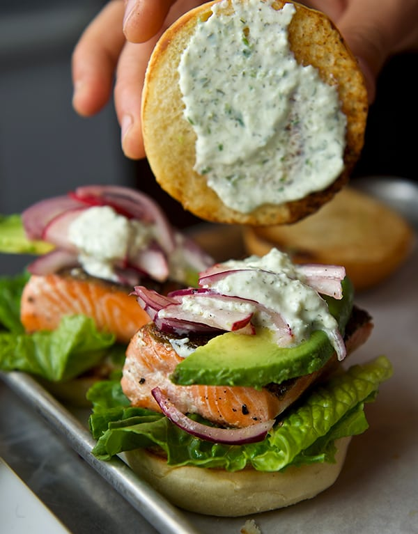 Salmon Sliders with yogurt-cucumber-dill sauce_toppings