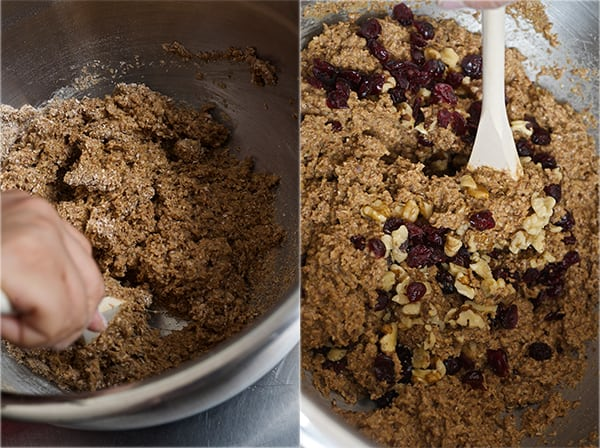 Cranberry Walnut Bran Muffins_muffin batter and folding the cranberries and nuts
