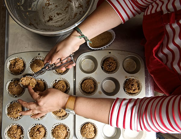 Cranberry Walnut Bran Muffins_scooping muffins