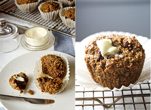 Cranberry Walnut Bran Muffins_spread some vegqan butter