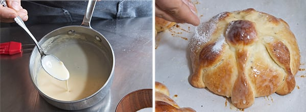 Pan-de-Muerto_Glazing-and-sugar-dusting-the-bread