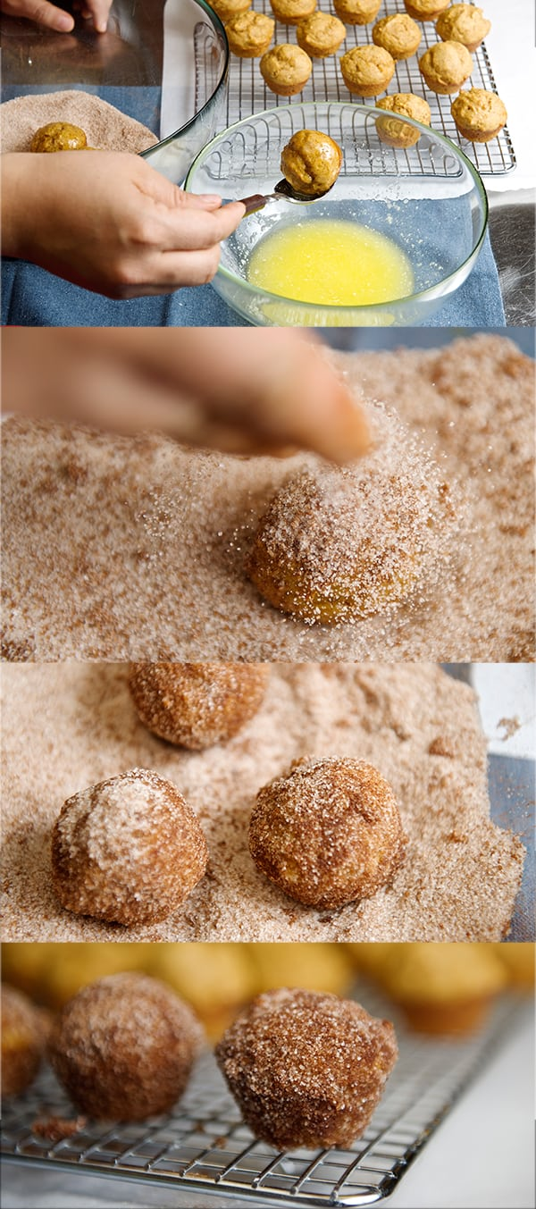Pumpkin_dounught bites-butter,cinnamon sugar dusting