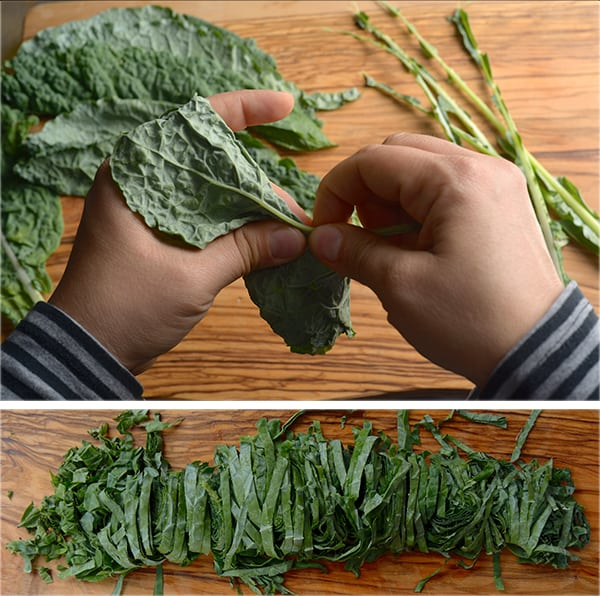 Kale-Sweetpotatoe-and-Quinoa-Fritters_Deveining-and-chiffonade-Kale-