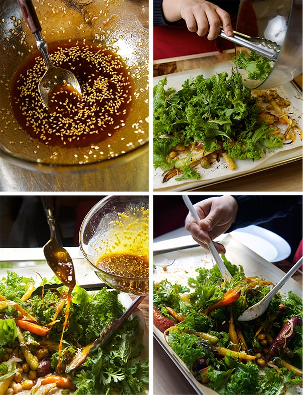 Roasted-Carrot-Salad-with-Hummus-Vinaigrette_tossing-the-salad