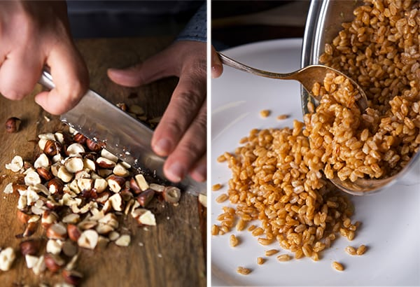 Warm-Farro-asparragus-and-poached-egg-toasted-hazelnuts-and-farro