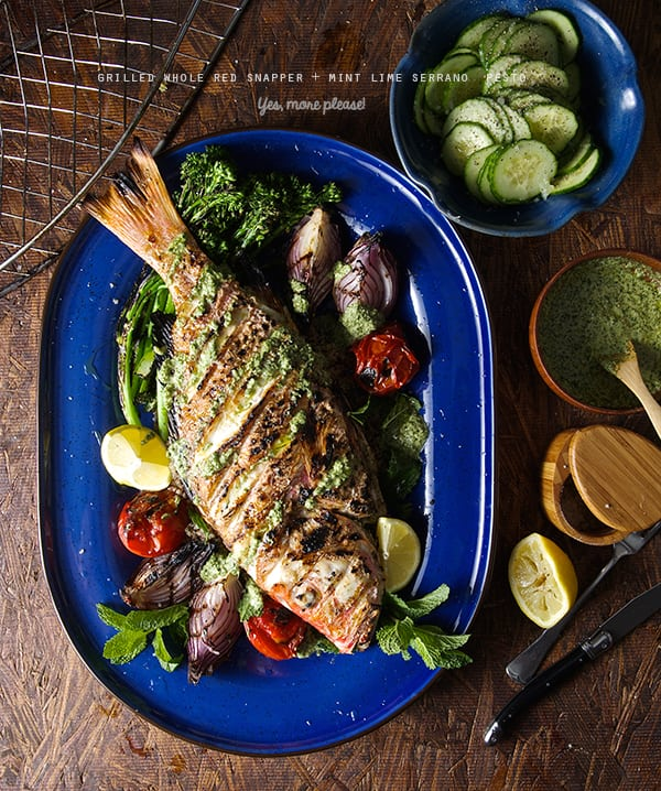 Grilled-Whole-Red-Snapper-+-Mint-Lime-Serrano-Pesto-_Yes,-more-please!