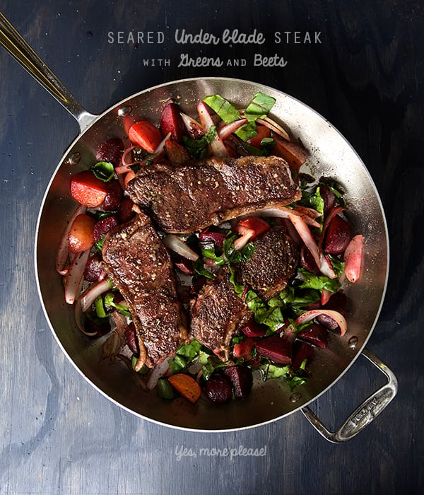 Underblade-steak--with-greens-and-beets-Yes,-more-please!