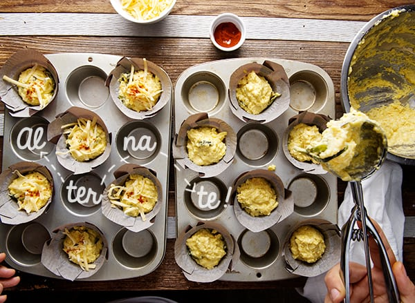 Corn-Bread-Muffins-with-Poblano-Peppers-and-Smoked-Gouda_Scooping-the-muffins