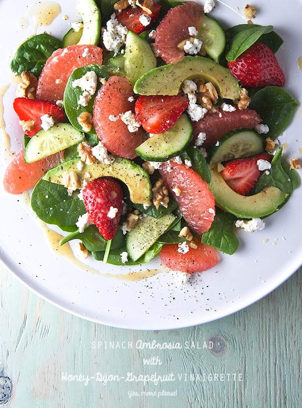 Spinach-Ambrosia-Salad-with-Honey-Dijon-Grapefruit-Vinaigrette_Yes,-more-please!_greek-goddess-salad