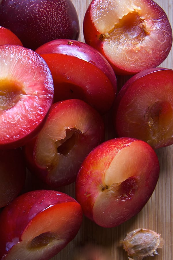 Red-Plum-Ginger-Jalapeno-Chutney-sliced-and-pitted-plums-Yes,-more-please!