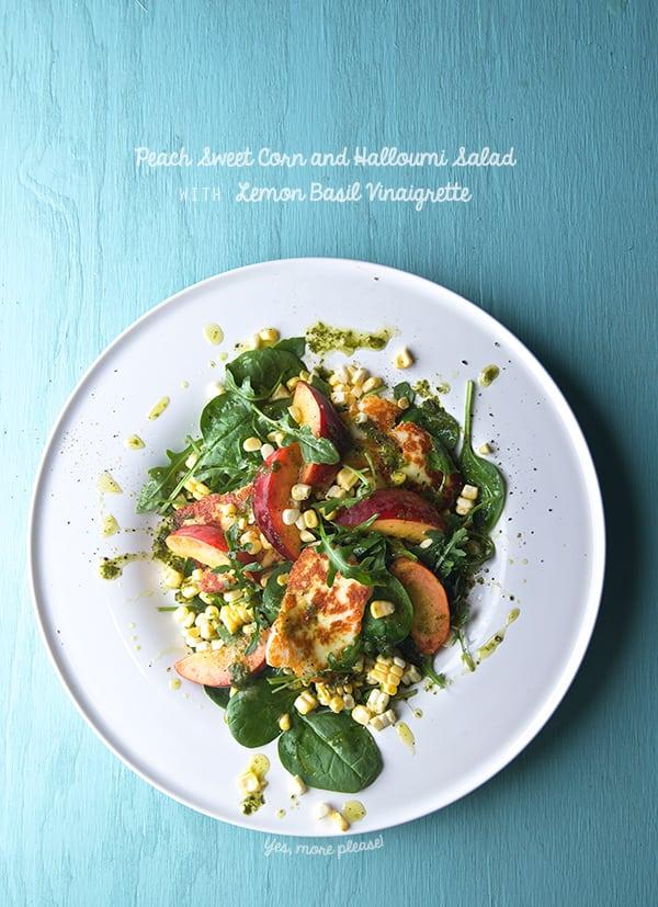 Peach-Sweet-Corn-and-Halloumi-Salad-with-Lemon-Basil-Vinaigrette_Yes,-more-please!