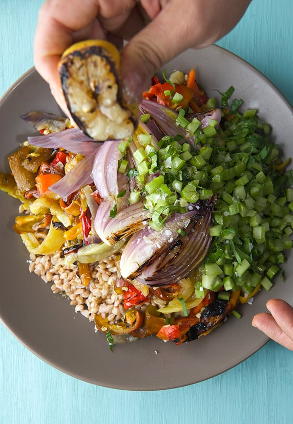 Sweet and Handsome Farro Salad_Grilled-lemon_Yes,-more-please